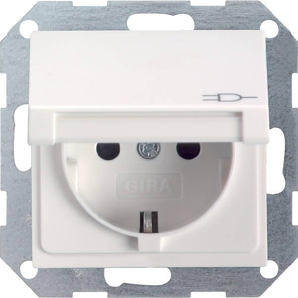 gira steckdose wandsteckdose system 55 klappdeckel 045403 reinwei gl nzend ebay. Black Bedroom Furniture Sets. Home Design Ideas