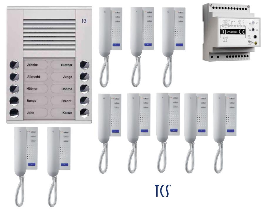 TCS Sprechanlage Set 10 Wohneinheiten 2-Draht BUS Türsprechanlage ...